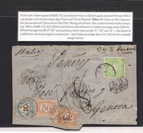 Peru. 1870 (23 Aug) Arica - Italy, Genova (6 Oct) Fkd Front 1 Dinero Green Good Margins Tied Cds + GB 1fr 90c. Via BPO A - Perù