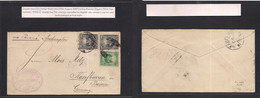 Peru. 1887 (13 Aug) Lima - Germany, Kaufbeuren (18 Sept) Bayern. Via Panama - Southampton. Multifkd Env Doble 11c Rate. - Perù