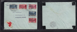 Siam. 1933 (10 March) BKK - Denmark, Cph (20 March) Air Multifkd Env. Arrival Air Cachet. Fine Usage On Cover. - Siam