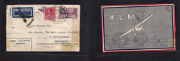 Siam. 1934 (14 Apr) BKK GPO - Denmark, Cph (26-27 Apr) Fkd Early Airlettersheet. Interesting Reverse. - Siam