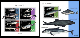 GUINEA BISSAU 2021 - Dolphins, M/S + S/S. Official Issue [GB210307] - Guinea-Bissau