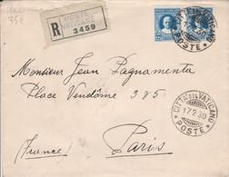 VATICAN AFFRANCHISSEMENT COMPOSE SUR LETTRE RECOMMANDEE POUR LA FRANCE 1930 - Lettres & Documents