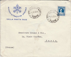 VATICAN SEUL SUR LETTRE A EN TETE POUR LA FRANCE 1933 - Lettres & Documents