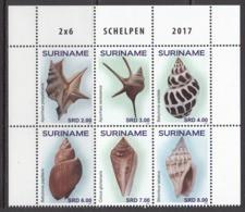 2017 Surinam Shells   Complete Block Of 6  MNH - Surinam