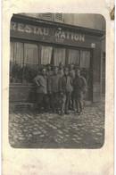 CPA N°7724 - CARTE PHOTO - SOLDATS DEVANT LA RESTAURATION KEFF ... PEUT ETRE A SAINT-JULIEN-LES-METZ 57 - Uniformen