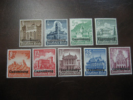 LUXEMBOURG Set Yvert  33/41 ** Unhinged Overprinted Germany Occupation - Neufs