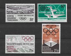 Ostafrikanische Gemeinschaft 1968 Olympia Mi.Nr. 177/80 Kpl. Satz ** - Kenya, Uganda & Tanzania