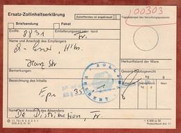 Ersatz-Zollinhaltserklärung Velbert, 1970? (5272) - Briefe U. Dokumente