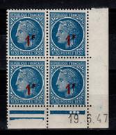 Coin Date - YV 791 N** , Mazelin Surchargé , Coin Daté Du 19.6.47 , 3 Points - 1940-1949