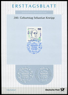 "Germany, Allemagne 2021 ETB 10/2021,Mi.Nr.3598 ""200.Geburtstag Sebastian Kneipp, Naturheilkunde ""1 ETB Used - Thermalisme"