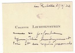 COLETTE LICHTENSTEIN LA ROCHELLE 1932 - Cartoncini Da Visita