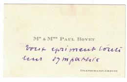 Mr & Mme PAUL BOVET GRANGCHAMP-AREUSE - Visiting Cards