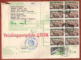 Paketkarte, Flugzeug U.a., Puerto De La Cruz Tenerife Ueber Offenburg Velbert Nach Heiligenhaus 1973 (5275) - 1971-80 Storia Postale