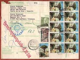 Paketkarte, Baum U.a., Puerto De La Cruz Tenerife Ueber Offenburg Velbert Nach Heiligenhaus 1973 (5276) - 1971-80 Storia Postale