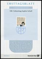"Germany, Allemagne 2021 ETB 16/2021,Mi.Nr.3606 ""100.Geburtstag Sophie Scholl  ""1 ETB Used - Seconda Guerra Mondiale"