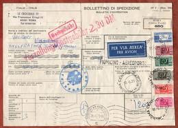 Paketkarte, Luftpost, Posthorn U.a., Roma Ueber Fiumicino Frankfurt Flughafen Nach Velbert 1973 (5277) - 1971-80: Storia Postale