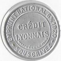 Timbre Monnaie - CREDIT LYONNAIS  EMPRUNT NATIONAL 6%1920 SOUSCRIVEZ 5 Centimes Vert Sur Fond Rouge - Other