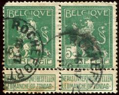 """COB  110 (o)  Oblitération """"Rochefort"""" T2R En Paire - 1912 Pellens"""