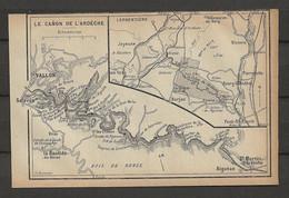CARTE PLAN 1914 - LE CANON De L'ARDECHE VALLON SALAVAS  BOIS De RONZE - BARJAC AIGUEZE LARGENTIERE JOYEUSE - Carte Topografiche