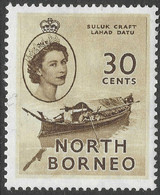 North Borneo. 1954-59 QEII. 30c MH SG 381 - North Borneo (...-1963)