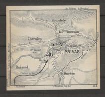CARTE PLAN 1914 - PRIVAS - CHARALON - RUISSOL - OUVEZE - BOURDELY - TOURNON - Carte Topografiche