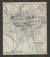 CARTE PLAN 1914 - CASTRES - GRAND HOTEL - HOTEL Du NORD - HOTEL De L'EUROPE - HALLE Au BLÉ - Carte Topografiche