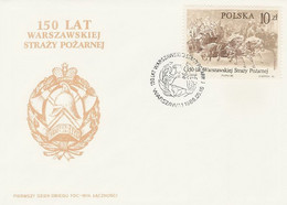 Poland FDC.2878: Fire Brigade Warszawa 150 Y. Horse Helmet - FDC