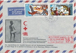 Dahomey Air Mail Red Cross Cover Jugendrotkreuz Dahomey And Germany 24-9-1974 With Cachet - Croce Rossa