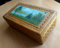 Russia 1950s Vintage / Wooden Carved Box With A Painting Picture / 245x145x85 Mm - Scatole/Bauli