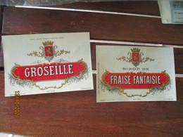 Lot 6 Etiquette Glacee Sirop Fraise Groseille Grenadine Fraise Fantaisie Edi Lasseron Dehon Valenciennes - Other