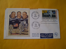 FDC USA 1er Homme Sur La Lune, First Man On The Moon, Armstrong, Collins, Aldrin 1969 Enveloppe - Stati Uniti
