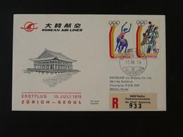 Lettre Premier Vol First Flight Cover Liechtenstein --> Seoul Korea Via Zurich Korean Airlines Ref 101402 - Briefe U. Dokumente