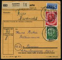 BRD 80 Pf. POSTHORN + 10 Pf. HEUSS AUF PAKETKARTE, R! - Covers & Documents