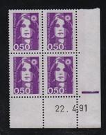 FRANCE  Coin Daté **  Briat 0,50  22.4.91 N° Yvert  2619  Neuf Sans Charnière CD - 1990-1999