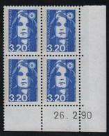 FRANCE  Coin Daté **  Briat 3,20  26.2.90 N° Yvert  2623  Neuf Sans Charnière CD - 1990-1999