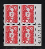 FRANCE  Coin Daté **  Briat 2,30  21.11.89 N° Yvert  2629  Carnet  Neuf Sans Charnière CD - 1990-1999