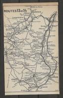 CARTE PLAN 1914 - ITINÉRAIRE - AUBENAS LARGENTIERES St AMBROIX VIVIERS ORANGE AVIGNON NIMES - Carte Topografiche