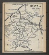 CARTE PLAN 1914 - ITINÉRAIRE - MONT PILAT St CHAMOND PÉLUSSIN CHAVANAY CONDRIEU ANNONAY GRAIX DOIZIEUX - Carte Topografiche
