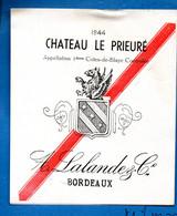 Blaye (33 Gironde) étiquette CHATEAU LE PRIEURE 1944 (Vin, AOC,1e Cotes De Blaye ) (PPP32477) - Bordeaux