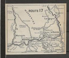 CARTE PLAN 1914 - ITINÉRAIRE - MARGERIDE - LANGOGNE MARVEJOLS MENDE VILLEFORT BAGNOLS Les BAINS - Carte Topografiche