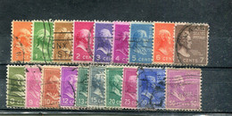 Etats-Unis 1938 Yt 368-373 375-380 382-383 385 390 395-396 Série Courante - Used Stamps