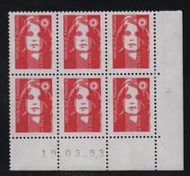 FRANCE  Coin Daté **  Briat  Prioritaire Permanent  19.03.93  N° Yvert  2806 Neuf Sans Charnière CD - 1990-1999