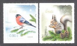 Christmas Estonia 2021  Stamps  Mi 1024-5 Birds Bullfinch, Fauna Squirel - Natale