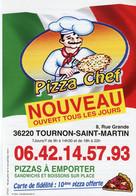 Flyer °_ Restaurant-Pizza Chef-36-Tournon-Menus Au Verso-15x21 - Advertising