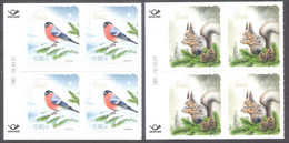 Christmas Estonia 2021  Stamps Blocks Of 4 With Issue Numbers Mi 1024-5 Birds Bullfinch, Fauna Squirel - Natale