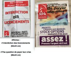 NPA : 2 Affiches / 4 Autocollants / 1 Document 4 Pages & 3 Tracts (affiches Expédiées Pliées) - Manifesti