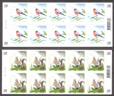 Christmas Estonia 2021  Stamps Sheets Of 10 Mi 1024-5 Birds Bullfinch, Fauna Squirel - Natale