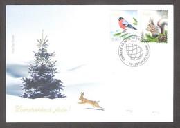 Christmas Estonia 2021  Stamps FDC Mi 1024-5 Birds Bullfinch, Fauna Squirel - Natale