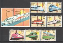 M227 1989 R.P.KAMPUCHEA CAMBODIA TRANSPORTATION TRAINS 1BL+1SET MNH - Treni