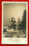 LATVIA LETTLAND HAPPY NEW YEAR SANTA CLAUS BLACK ROBE VINTAGE PHOTO PC USED 867 - Santa Claus